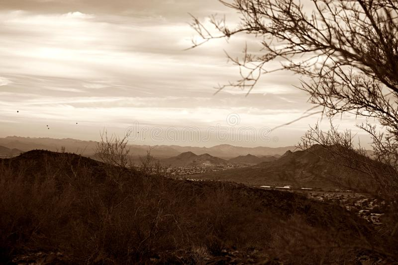 The great landscape of Arizona. Looking over Phoenix Arizona in a hot air balloon stock photography