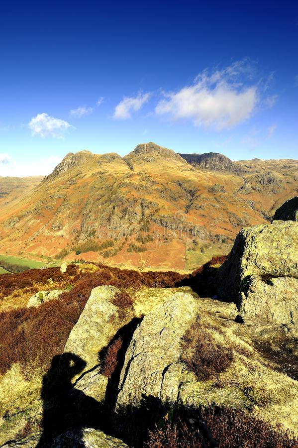 The Great Langdale Fells. The Great Langdale valley and fells from Side Pike stock photos