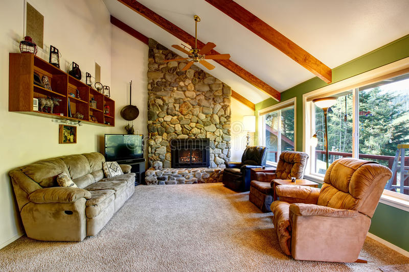 Download Great Living Room Interior In American Country House Stock Image