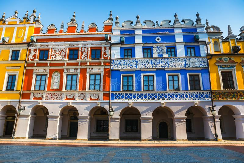 Great Market Square in Zamosc, renaissance town in Central Europe, Poland stock images