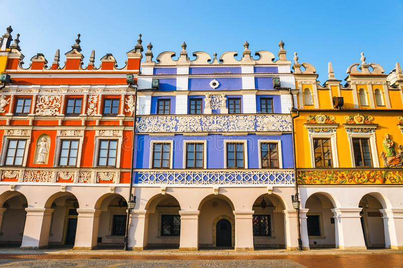Great Market Square in Zamosc, renaissance town in Central Europe, Poland royalty free stock photos