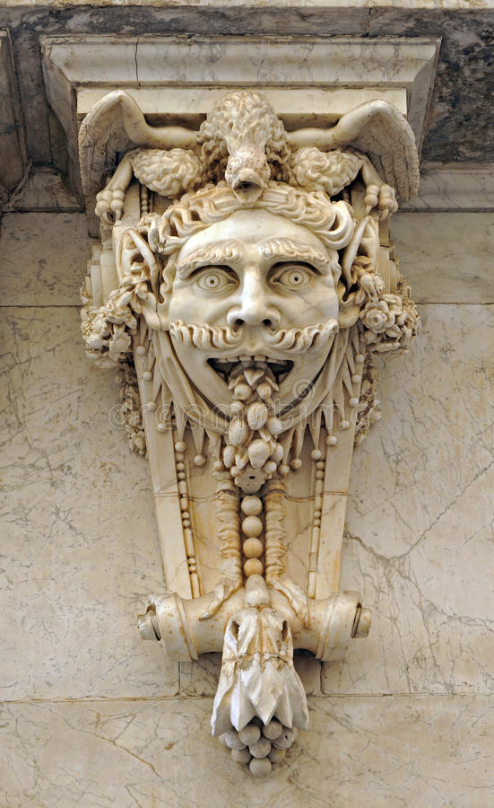 Great mask named mascaron, architectural fantasy, the Chamber of Commerce, Cadiz, Andalusia, Spain stock photo