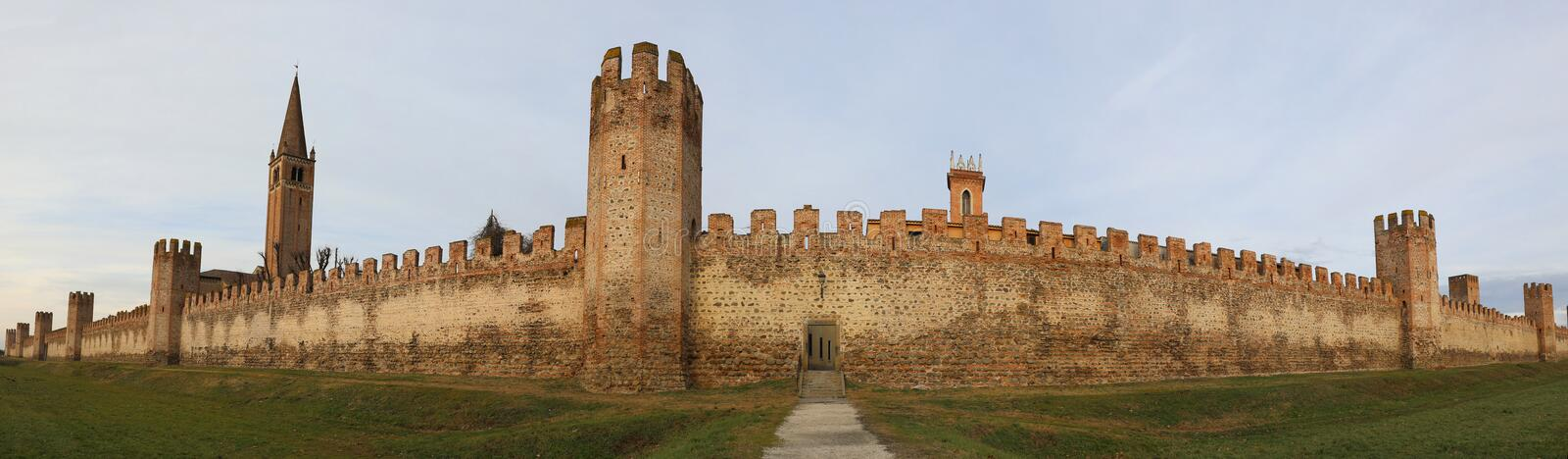 Great Medieval city wall of MONTAGNANA Town in Northern Italy. Near Padua City in Veneto Region royalty free stock photography
