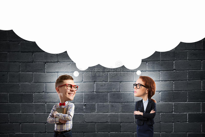 Great mind. Funny women and big headed men in glasses with book in hands royalty free stock photo