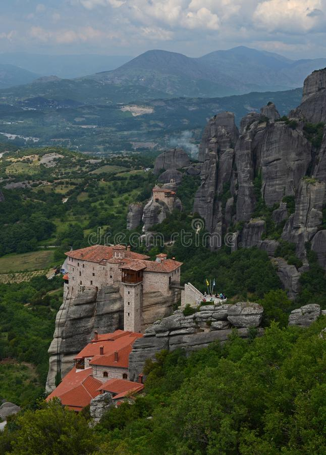 Great Monastery of Varlaam on the high rock in Meteora, Thessaly, Greece. Meteora - a complex of monasteries, the second largest in size after Athos, located on royalty free stock images