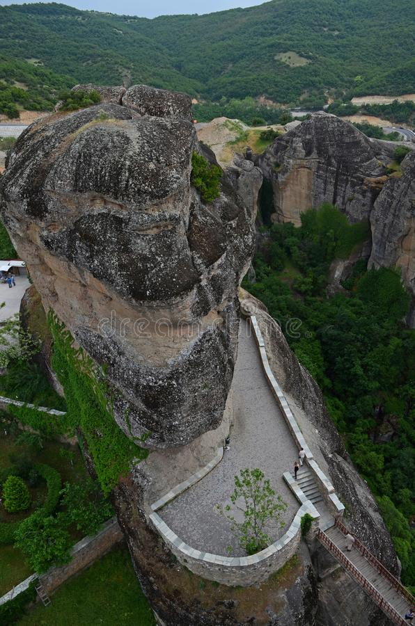 Great Monastery of Varlaam on the high rock in Meteora, Thessaly, Greece. Meteora - a complex of monasteries, the second largest in size after Athos, located on royalty free stock image