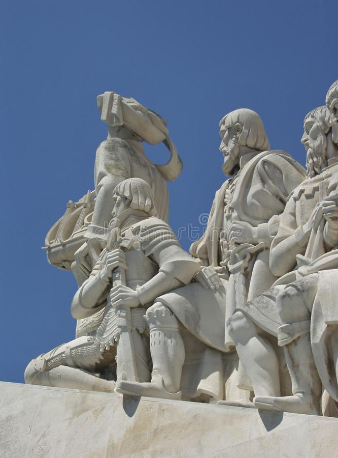 Detail photo of the monument of discovery, Lisbon - Portugal stock photos