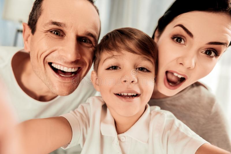 Selfie of a happy united family. Great mood. Selfie of a happy united family while being in a wonderful mood royalty free stock photos