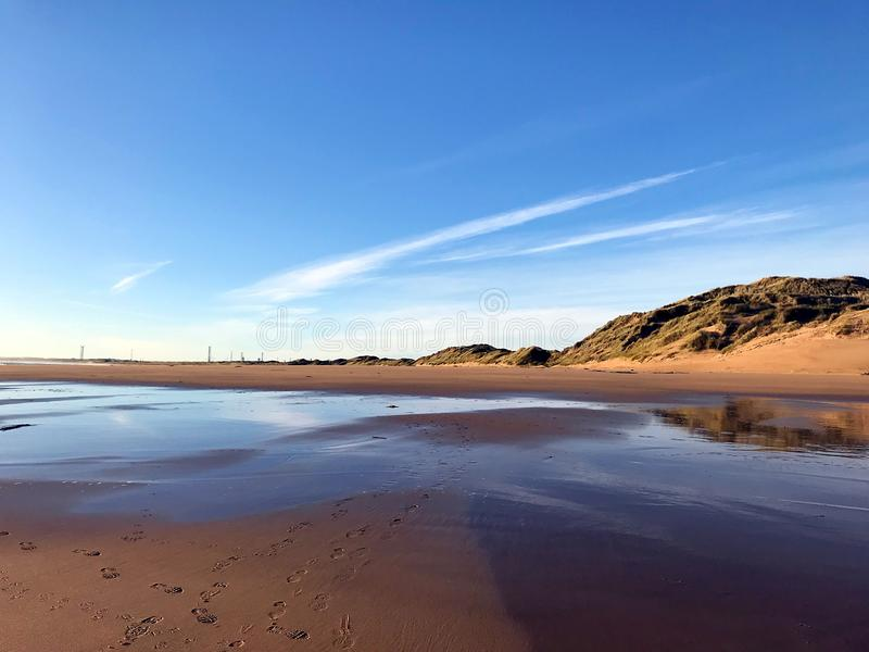 Beach and sea in Aberdeenshire stock photography