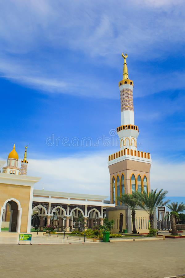 The Great Mosque of Indramayu West Java Indonesia. INDRAMAYU, INDONESIA- FEBRUARY 21, 2019: The Great Mosque of Indramayu West Java Indonesia royalty free stock photo