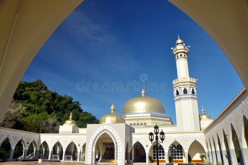 Great Mosque of Lawas,Sarawak,Malaysia. Lawas is a small town and the capital of the Lawas District in Limbang Division of northern Sarawak, eastern Malaysia stock photo