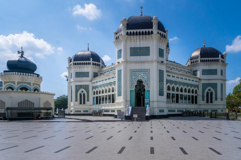 Great Mosque of Medan in Medan, Indonesia. Medan, Indonesia - January 2018: Great Mosque of Medan or Masjid Raya Al Mashun is a mosque located in Medan royalty free stock images