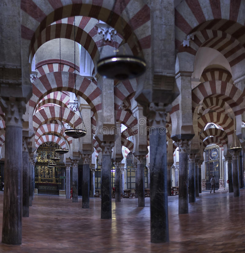 The Great Mosque or Mezquita famous interior in Cordoba, Spain. CORDOBA, SPAIN. Domed ceiling, interior of La Mezquita Cathedral. Great Mosque. UNESCO World royalty free stock photography
