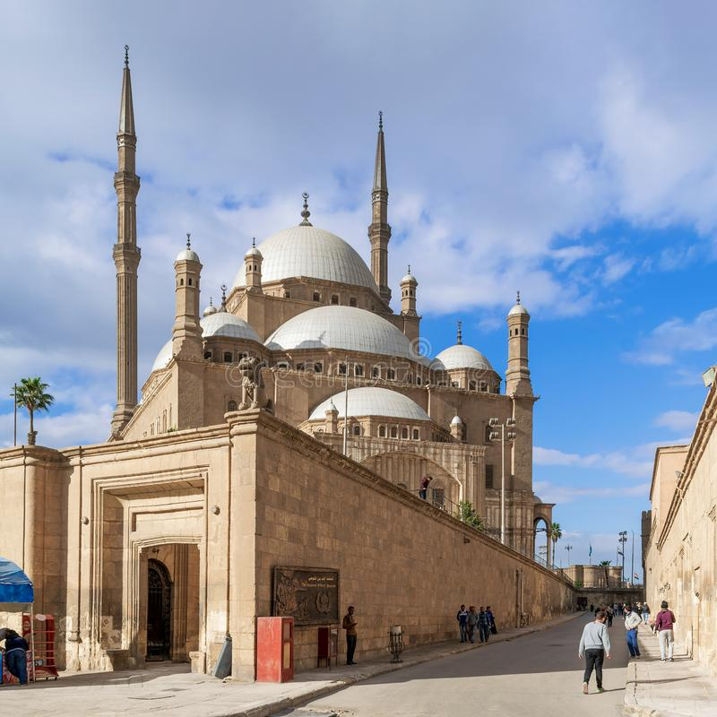 The great Mosque of Muhammad Ali Pasha - Alabaster Mosque - Citadel of Cairo, Egypt. Cairo, Egypt- January 3 2016: The great Mosque of Muhammad Ali Pasha royalty free stock photo