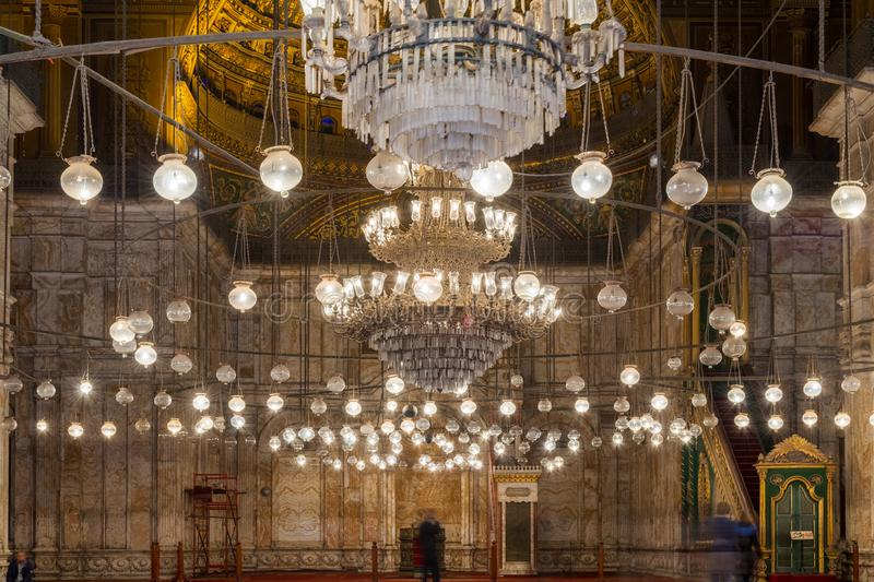 The great Mosque of Muhammad Ali Pasha - Alabaster Mosque, Citadel of Cairo, Egypt. Cairo, Egypt- January 3 2016: Interior of the great Mosque of Muhammad Ali stock photos