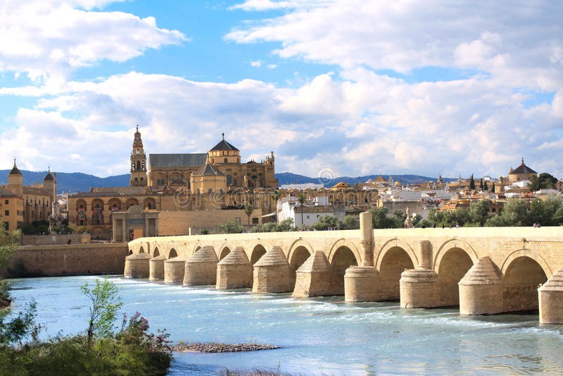 Great Mosque and Roman Bridge, Cordoba, Spain. Great Mosque, Roman Bridge and Guadalquivir river, Cordoba, Spain royalty free stock photos