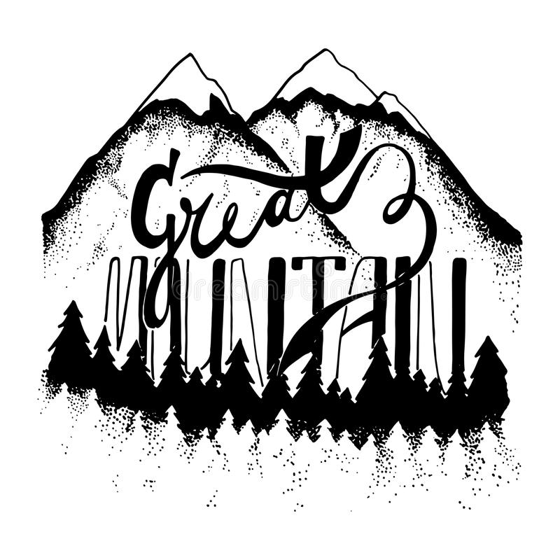 Collection Of Hand Drawn Logotypes: Mountain Hand Drawn Retro Logotype With Lettering. Stock