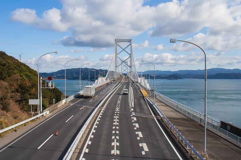 Great Naruto bridge cross over ocean. It is a large suspension bridge that stretches across the Naruto Strait. royalty free stock photography