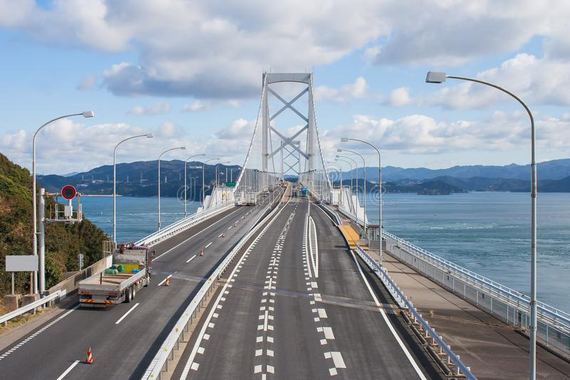 Great Naruto bridge cross over ocean. It is a large suspension bridge that stretches across the Naruto Strait. stock photography