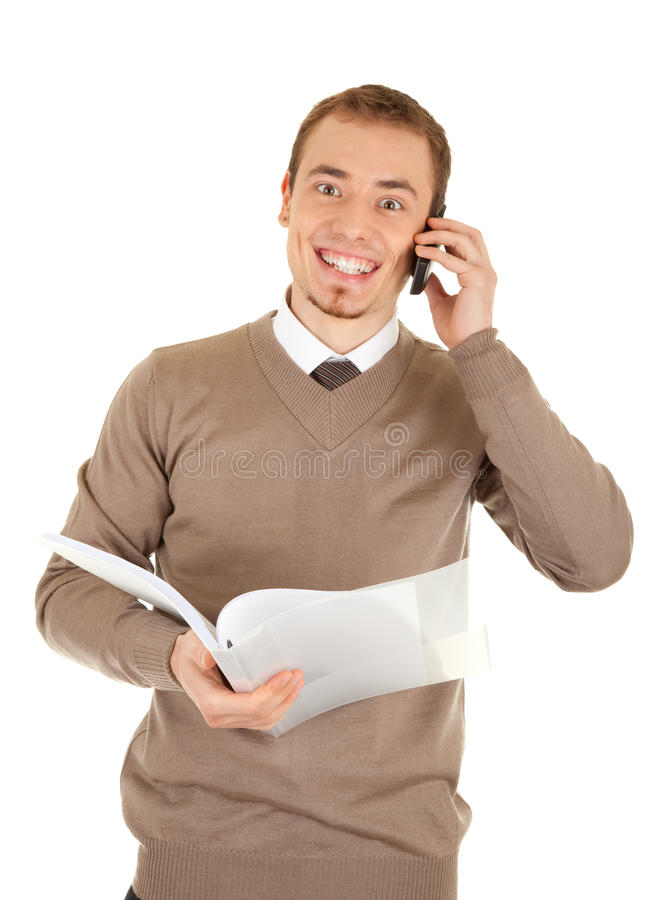 Great news by phone royalty free stock photo