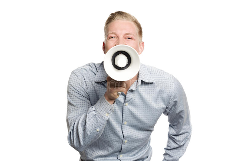 Joyous Business Person Shouting With Megaphone. Stock Photography