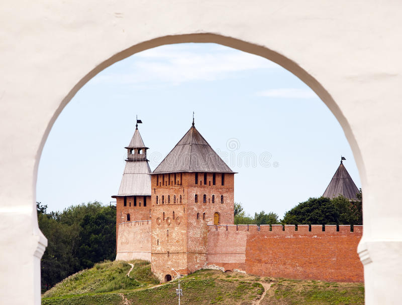 Great Novgorod. The Kremlin wall with towers. Russia.  royalty free stock image