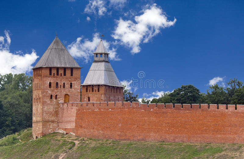 Great Novgorod. The Kremlin wall with towers. Russia.  stock photo