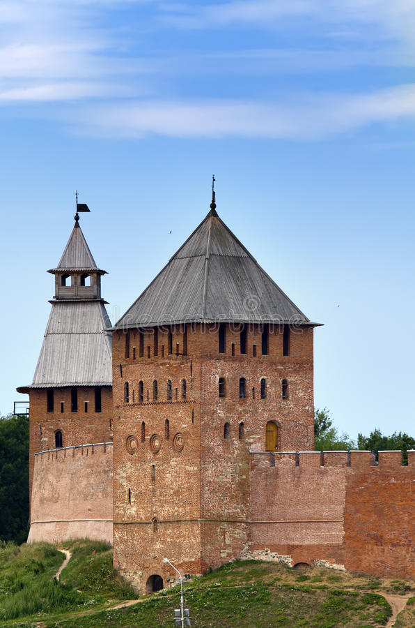 Great Novgorod. The Kremlin wall with towers. Russia.  stock photography