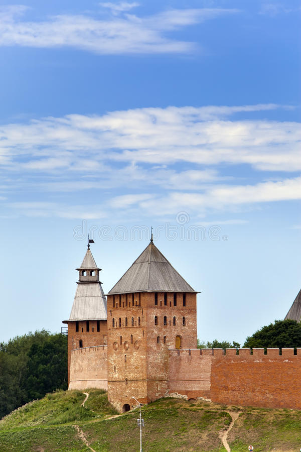 Great Novgorod. The Kremlin wall with towers. Russia.  stock images
