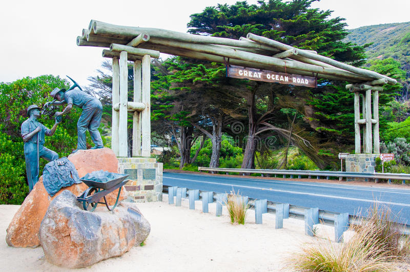 Great Ocean Road arch and memorial monument in Victoria state, Australia stock photo