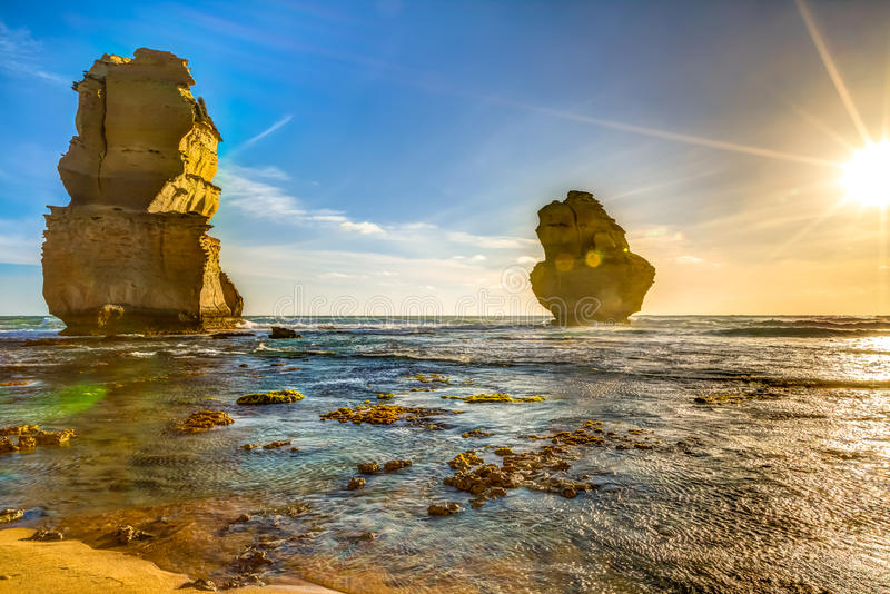 Port Campbell National Park. Gibson Steps beach at sunset in Port Campbell National Park on the Great Ocean Road, Victoria state, Australia stock photography