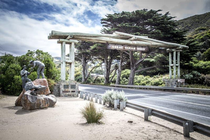 Great Ocean Road Memorial arch and sculpture stock image