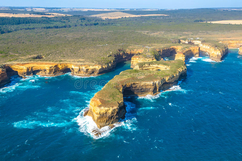 Port Campbell National Park. Aerial view of Mutton Bird Island in Loch Ard Gorge on the Great Ocean Road in Victoria, Australia famous attraction of the Port stock photo