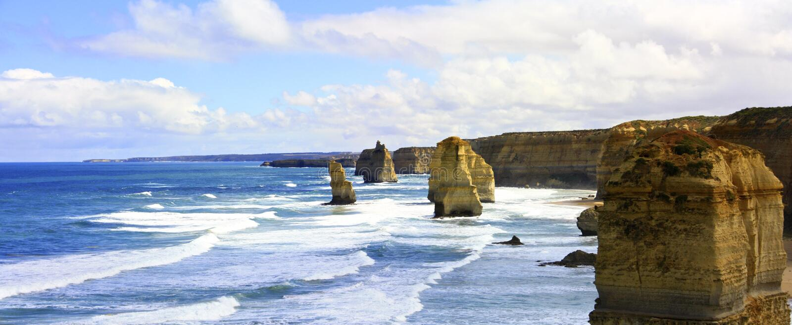 Great Ocean Road, Port Campbell National Park, Victoria, Australia. Panorama of Port Campbell National Park, Victoria, Australia stock photography