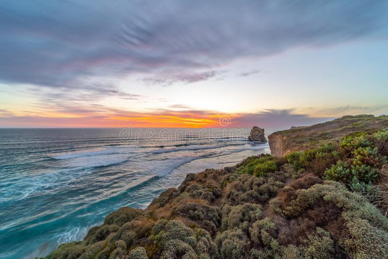 Great Ocean Road, Victoria State, Australia. The rock stacks that comprise the Twelve Apostles at sunset in Port Campbell National Park. Great Ocean Road royalty free stock photography