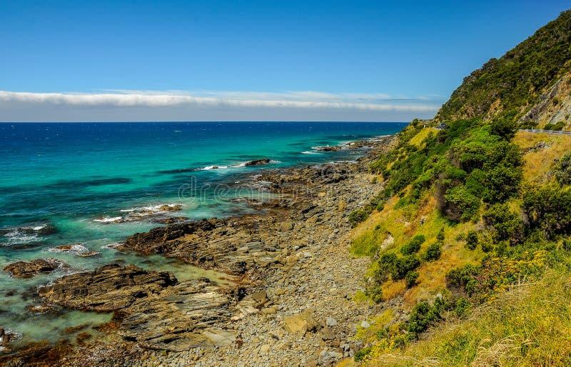 A favorite surfing spot on the Australian Pacific coast in Apoll. A favorite surfing spot on the Australian Pacific coast in Lorne stock photo