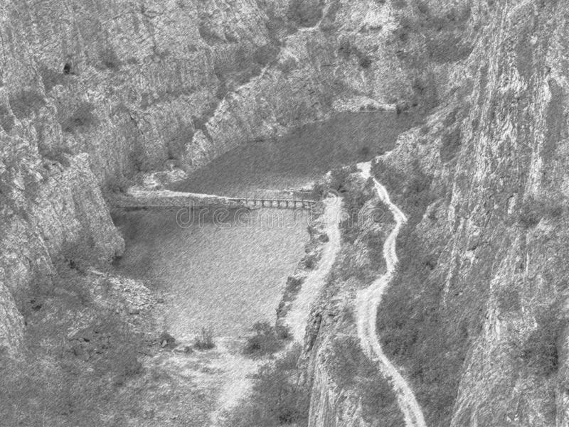 Great old quarry for dolomite mining. Lagoon in middle. With wooden bridge for tourists. Black and white dashed pencil sketch effect, water, valley, stone stock image