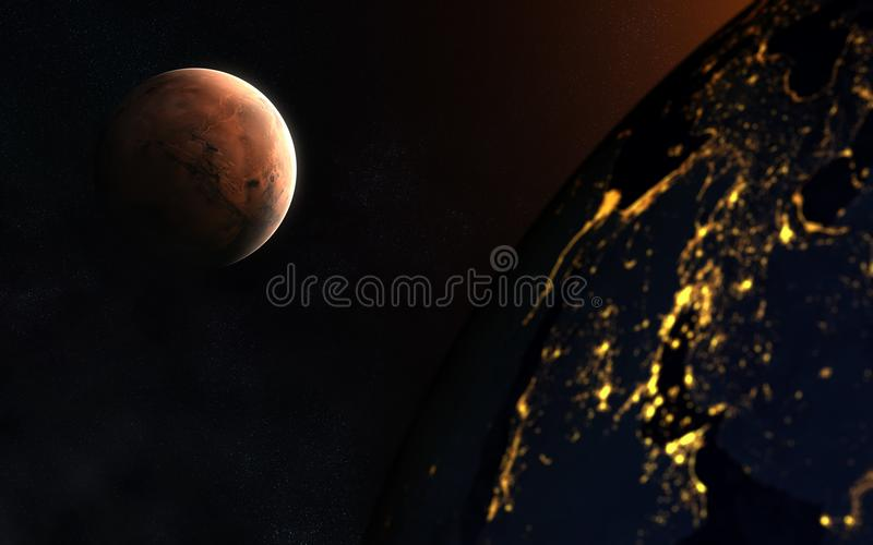 The great opposition of Mars and Earth. Abstract science fiction. Elements of the image are furnished by NASA stock image