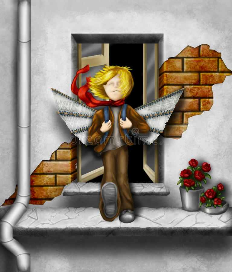 Great optimism. Cartoonish boy going to test his handmade paper wings. A great optimist he must be royalty free illustration