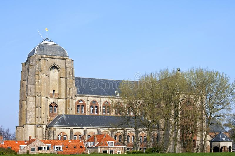 The Great or Our Lady Church in the dutch city Veere. Netherlands, province Zeeland, former island Walcheren: This former historic church building is a late stock photos
