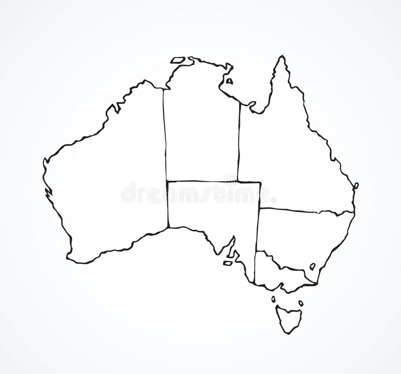 Australian continent with the contours of countries. Vector drawing stock illustration