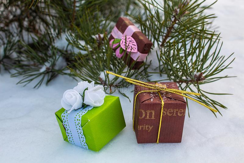 Great packages. Winter day The eve of the stock photo