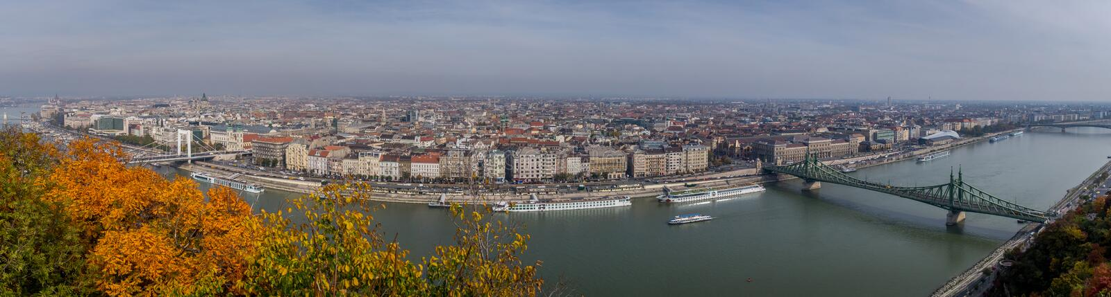 Great panoramic photograph of Budapest. The crossings of the Danube river. Great panoramic photograph of Budapest stock photos