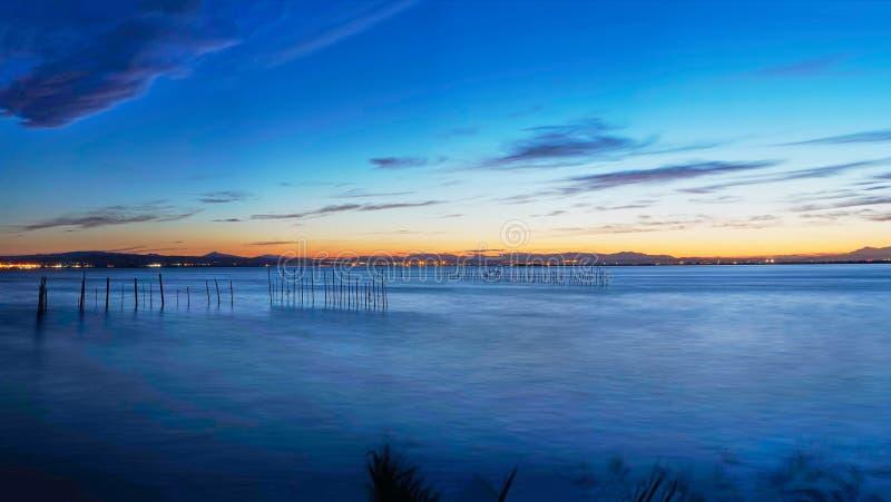 Great panoramic sunset in the Albufera de Valencia. Spain stock photos