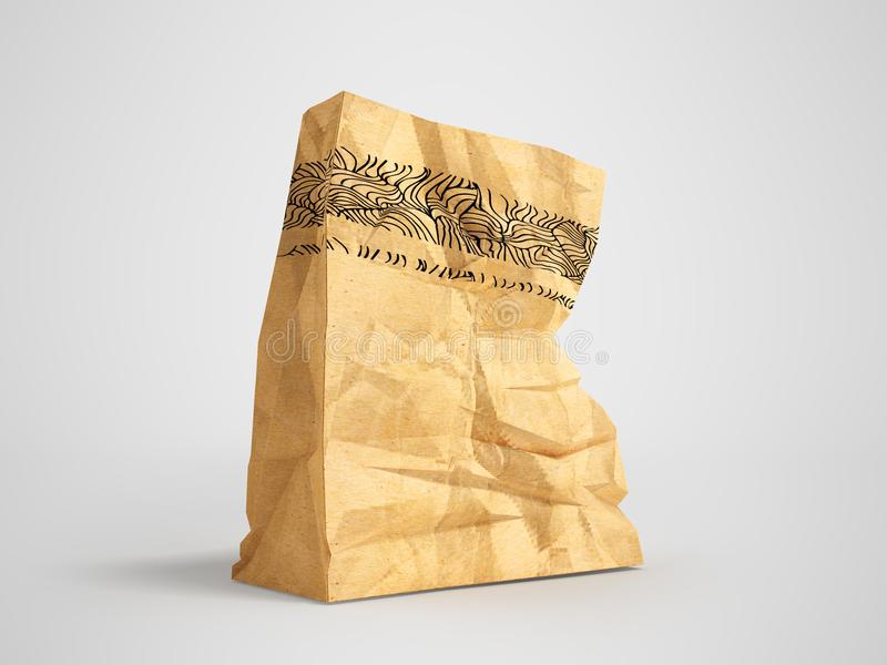 Great paper shopping bag for supermarket 3d render on gray background with shadow. Heavy paper bags of coated paper are suitable for packaging various purchases vector illustration