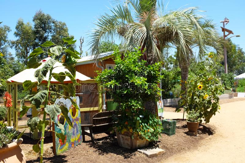 Great Park Farm and Food Lab. A one acre plot in Irvine`s Great Part established as a demonstration of sustainable urban. IRIVNE, CALIFORNIA - JULY 11, 2019 stock photography