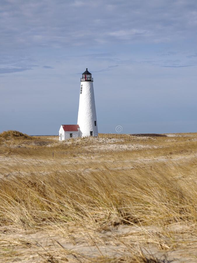 Free Great Point Lighthouse On Nantucket Island On A Cloudy Fall Day Royalty Free Stock Image - 181982646