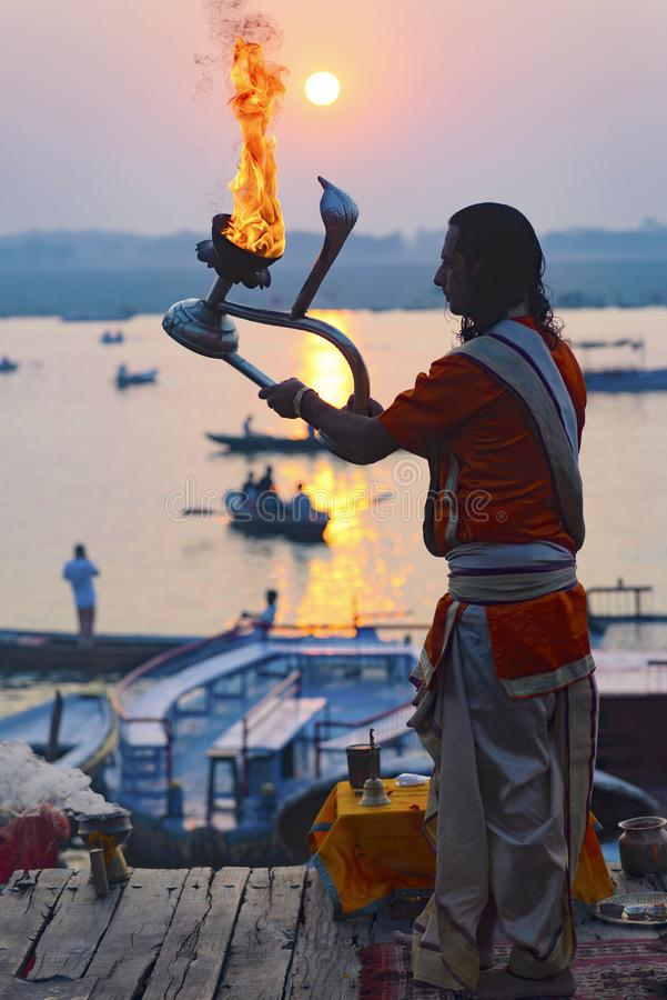 Great Pooja in Varanasi, India. May 2016 royalty free stock photography
