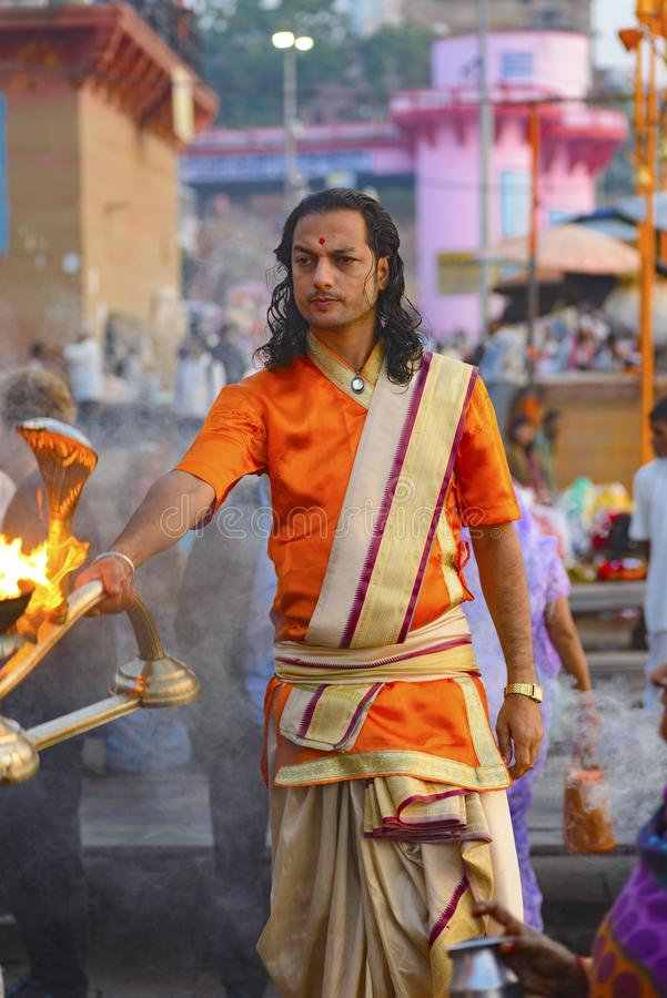 Great Pooja in Varanasi, India. May 2016 stock photos