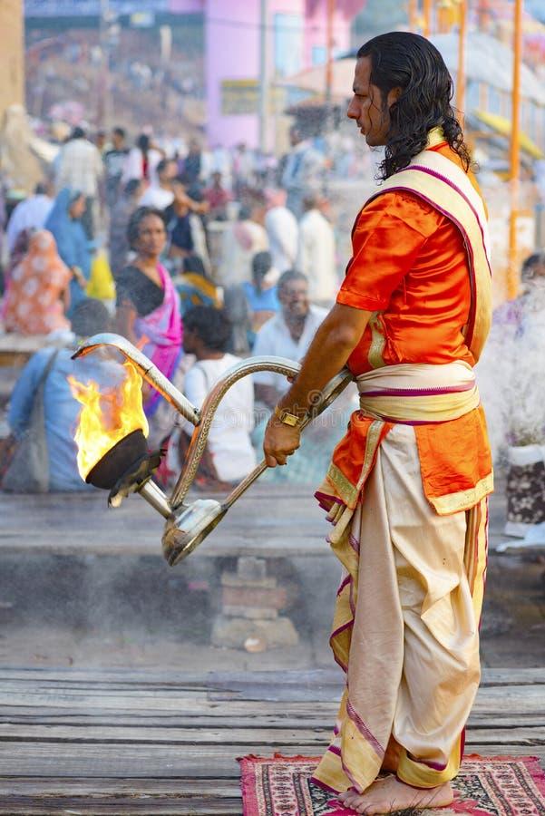 Great Pooja in Varanasi, India. May 2016 royalty free stock images